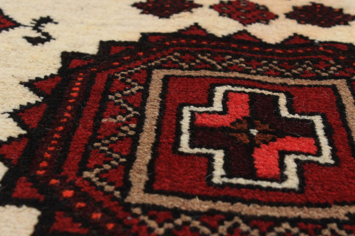 Wonderful One Of A Kind Finest Baluch Wool Hand Knotted Cream/Dark Amazing Design