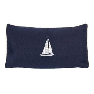 Hampden Sailboat Beach Outdoor Sunbrella Lumbar Throw Pillow