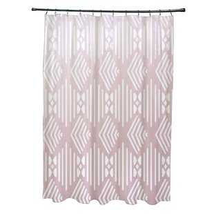 Fishbones Geometric Print Single Shower Curtain
