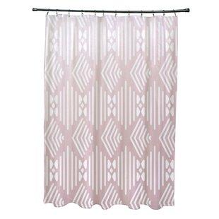 Fishbones Geometric Print Single Shower Curtain