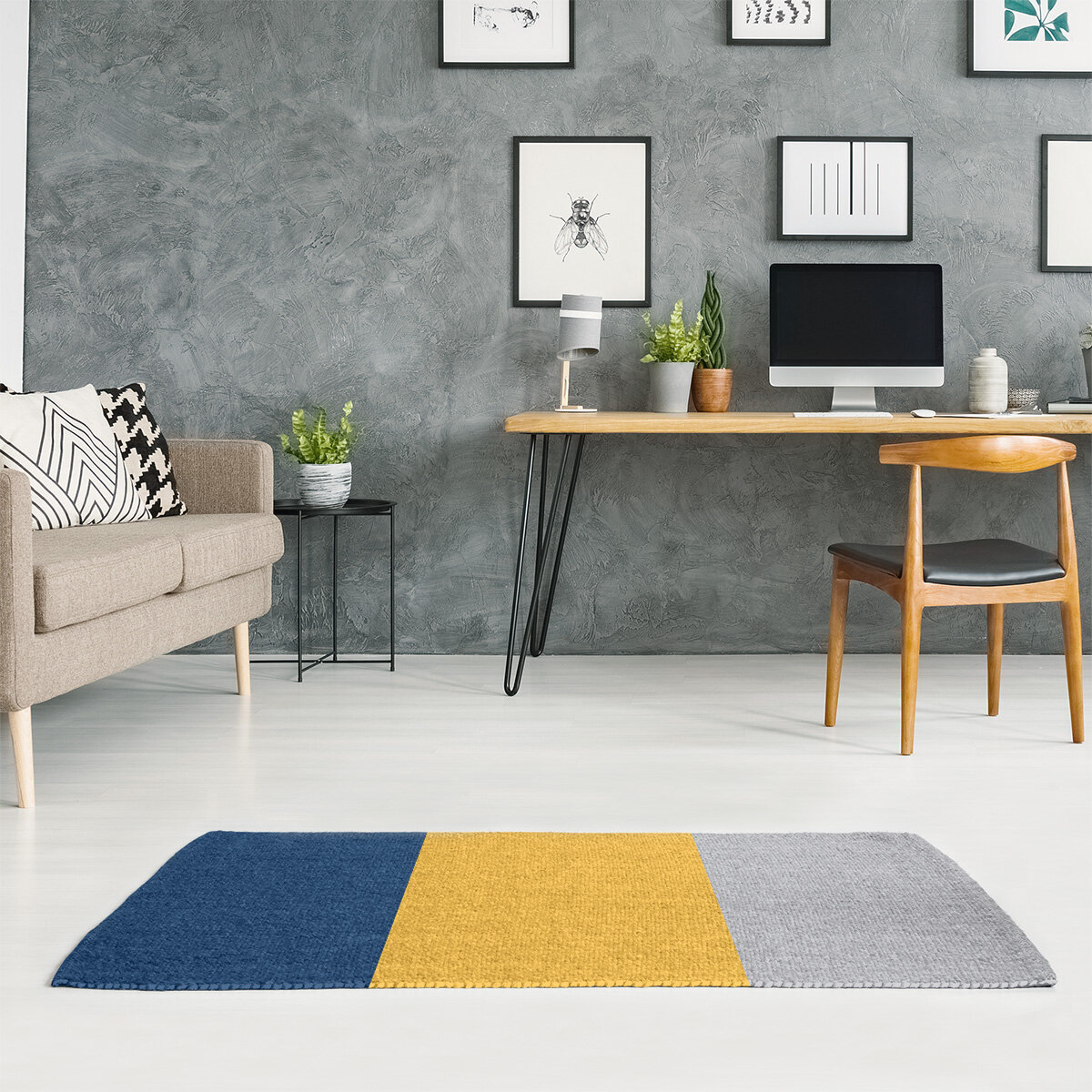 East Urban Home Striped Navy Blue Gold Cool Gray Area Rug Wayfair