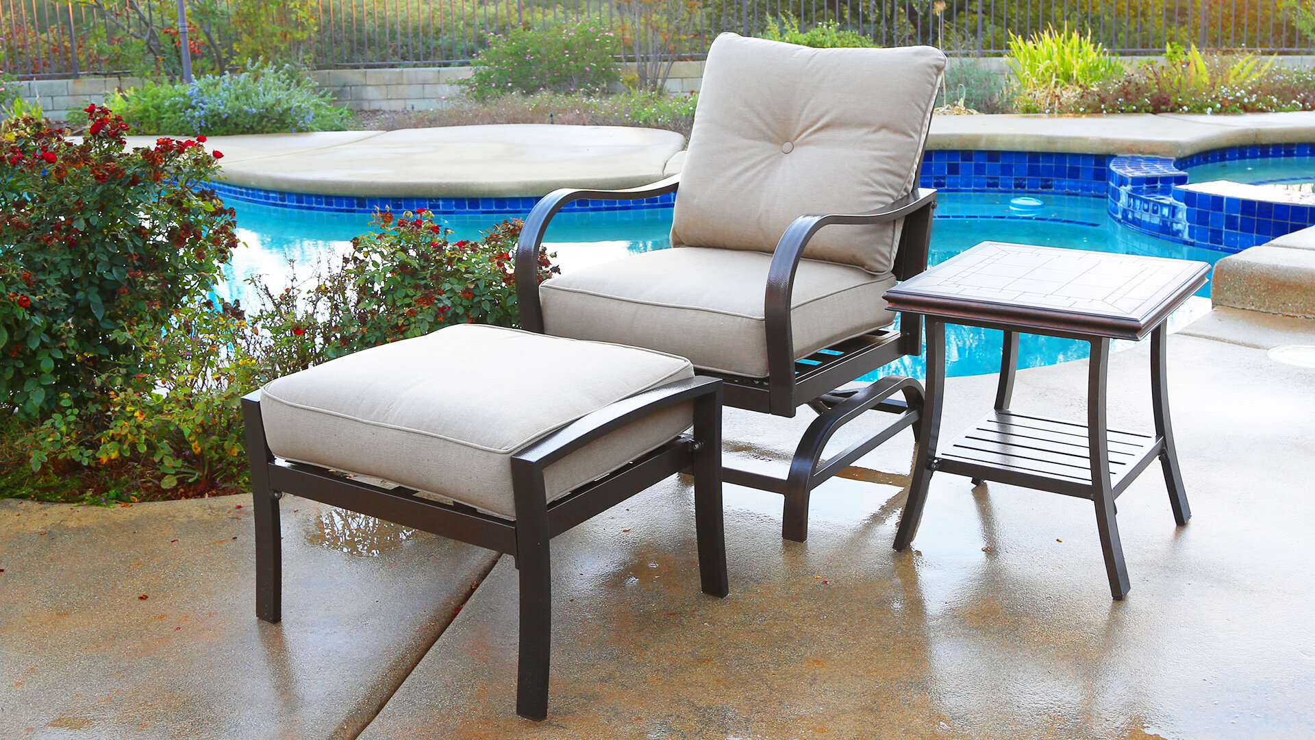 Excellent Bevins North Ridge Patio Chair With Cushions And Ottoman Ibusinesslaw Wood Chair Design Ideas Ibusinesslaworg