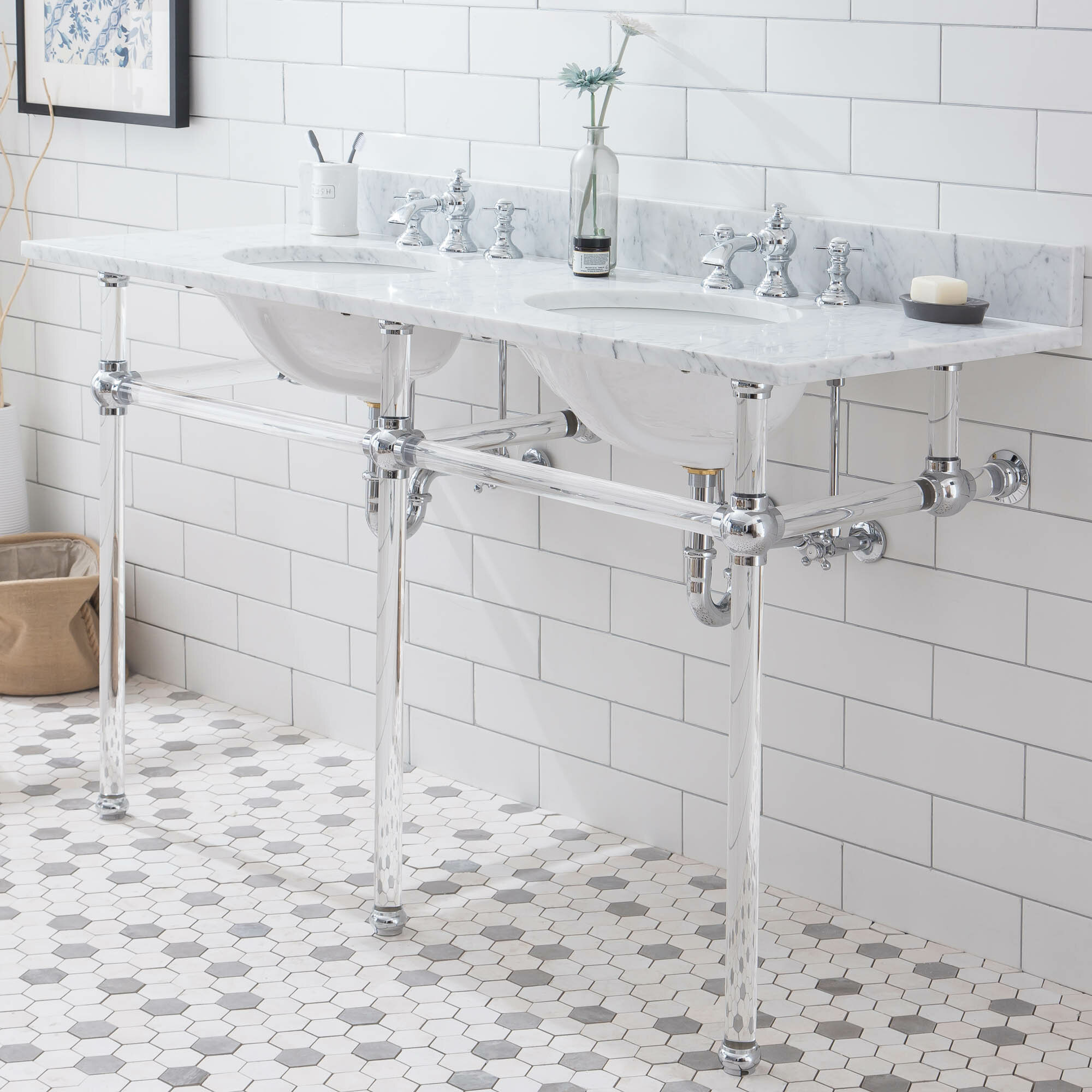 Breakwater Bay Empire 33 Tall Stone Oval Console Bathroom Sink With Faucet And Overflow Wayfair