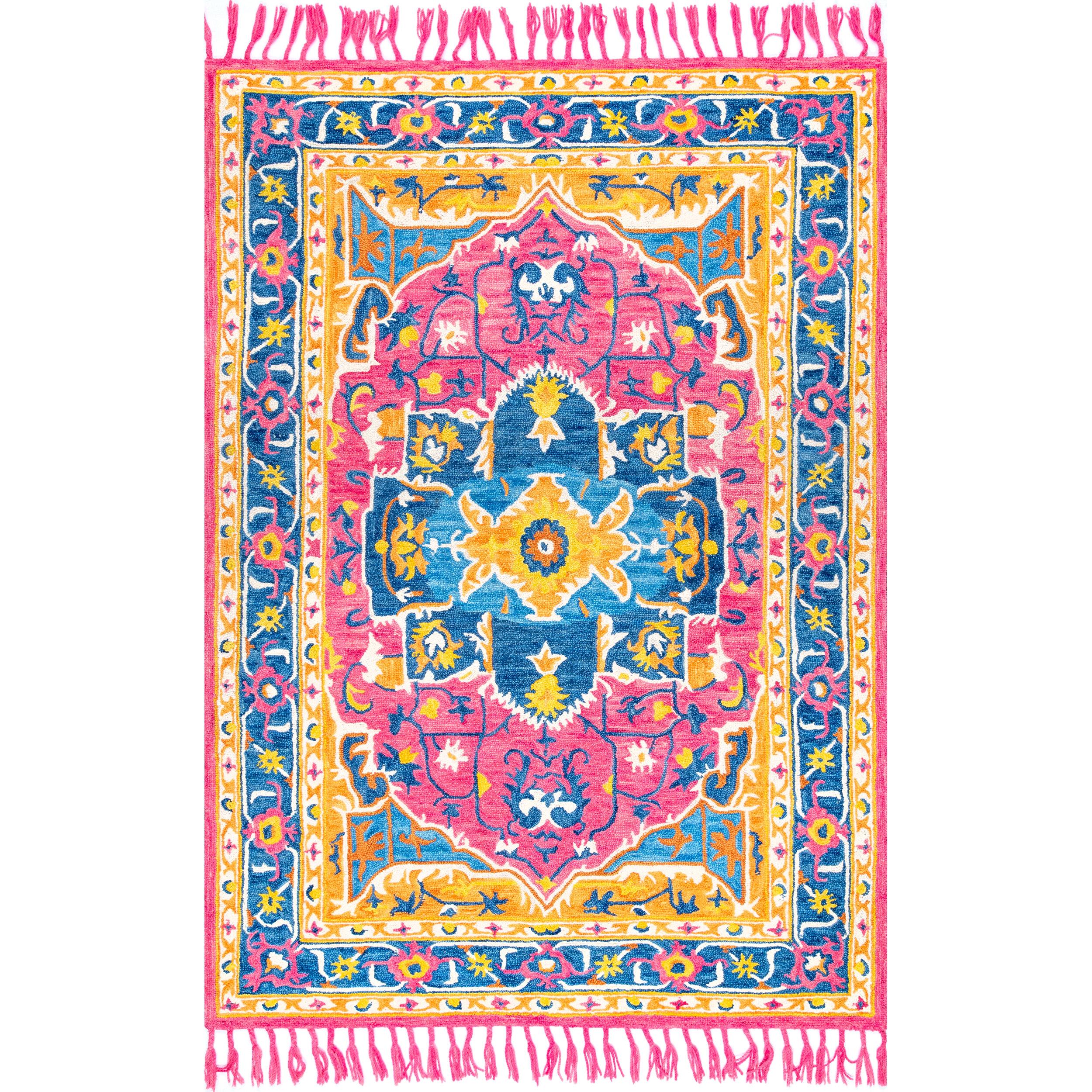 Bungalow Rose Madalynn Hand Tufted Wool Pink Area Rug Wayfair