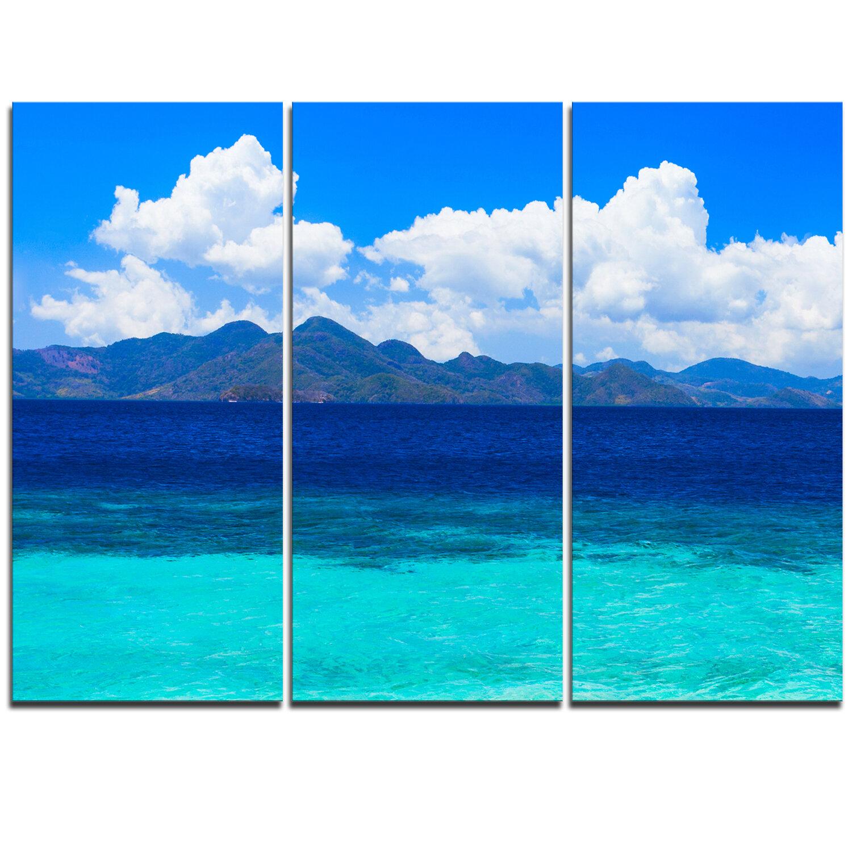 Designart Beauty Blue Beach 3 Piece Graphic Art On Wrapped Canvas Set Wayfair