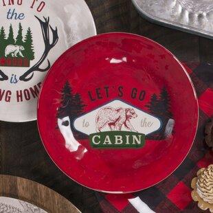Overbay Vintage Lodge Cabin Melamine Salad Plate (Set of 6)