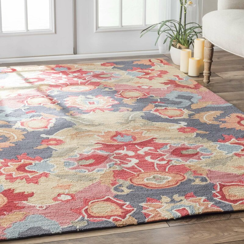 Jean Red Blue Fl Hand Tufted Area Rug