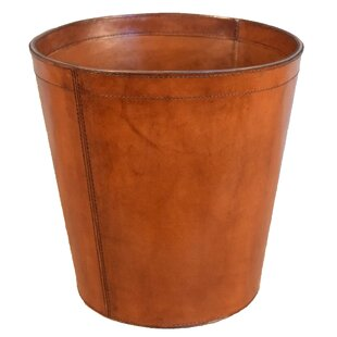 Great Price Barrister Round Waste Genuine Leather Bin ByDarby Home Co