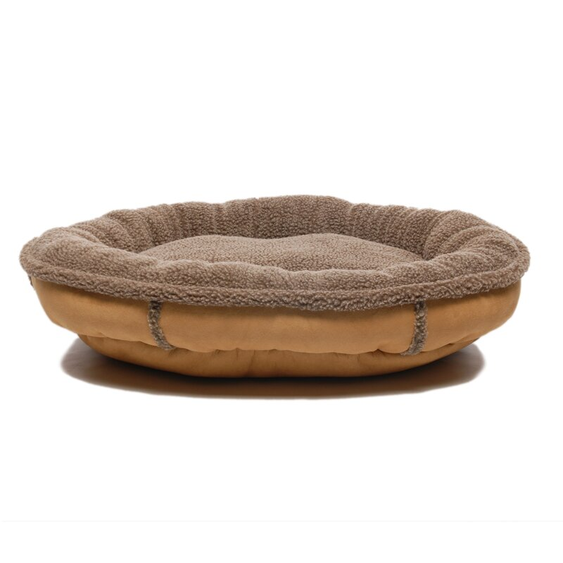 Faux Suede Oblong Comfy Cup Donut Dog Bed