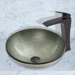 Simply Silver Glass Circular Vessel Bathroom Sink with Faucet by VIGO
