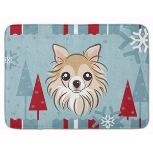 Winter Holiday Chihuahua Memory Foam Bath Rug
