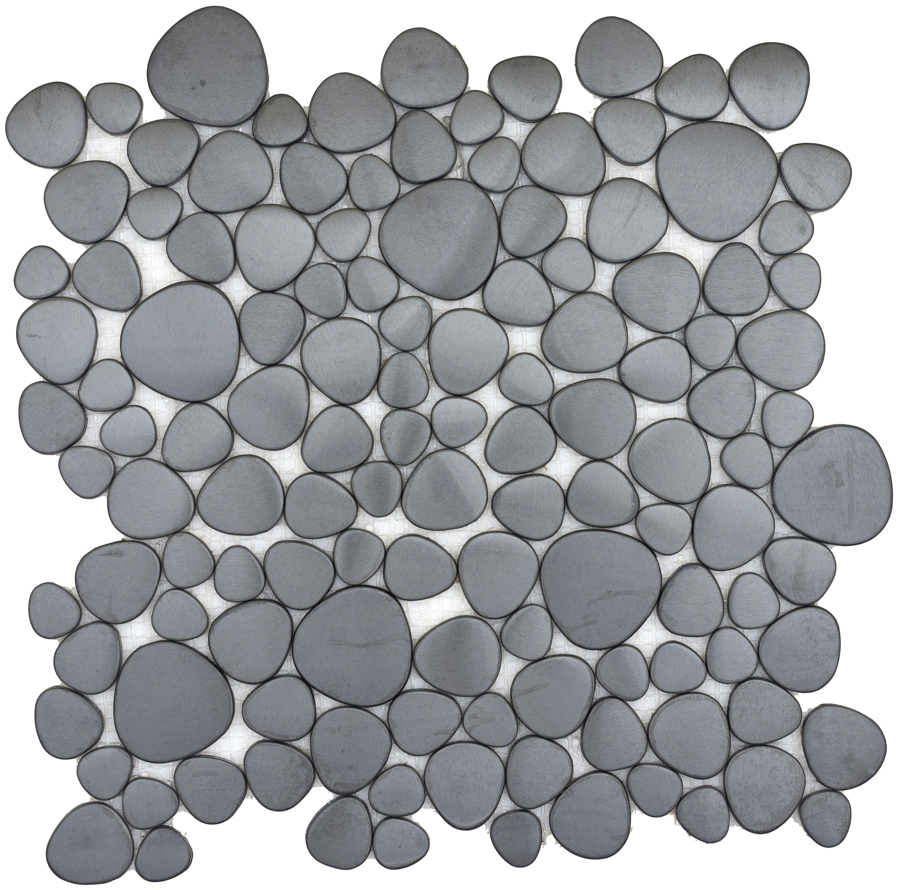 Emser Tile Gleam 12 X 12 Metal Over Ceramic Pebble Mosaic Tile In