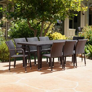Kaila Outdoor 9 Piece Wicker Dining Set Inexpensive