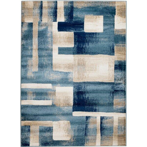 Ebern Designs Sawyer Geometric Light Blue Area Rug