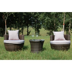 Hepner 3 Piece Conversation Set with Cushions by Wrought Studio