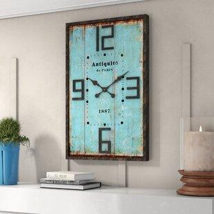 Rectangular Blue Wall Clock