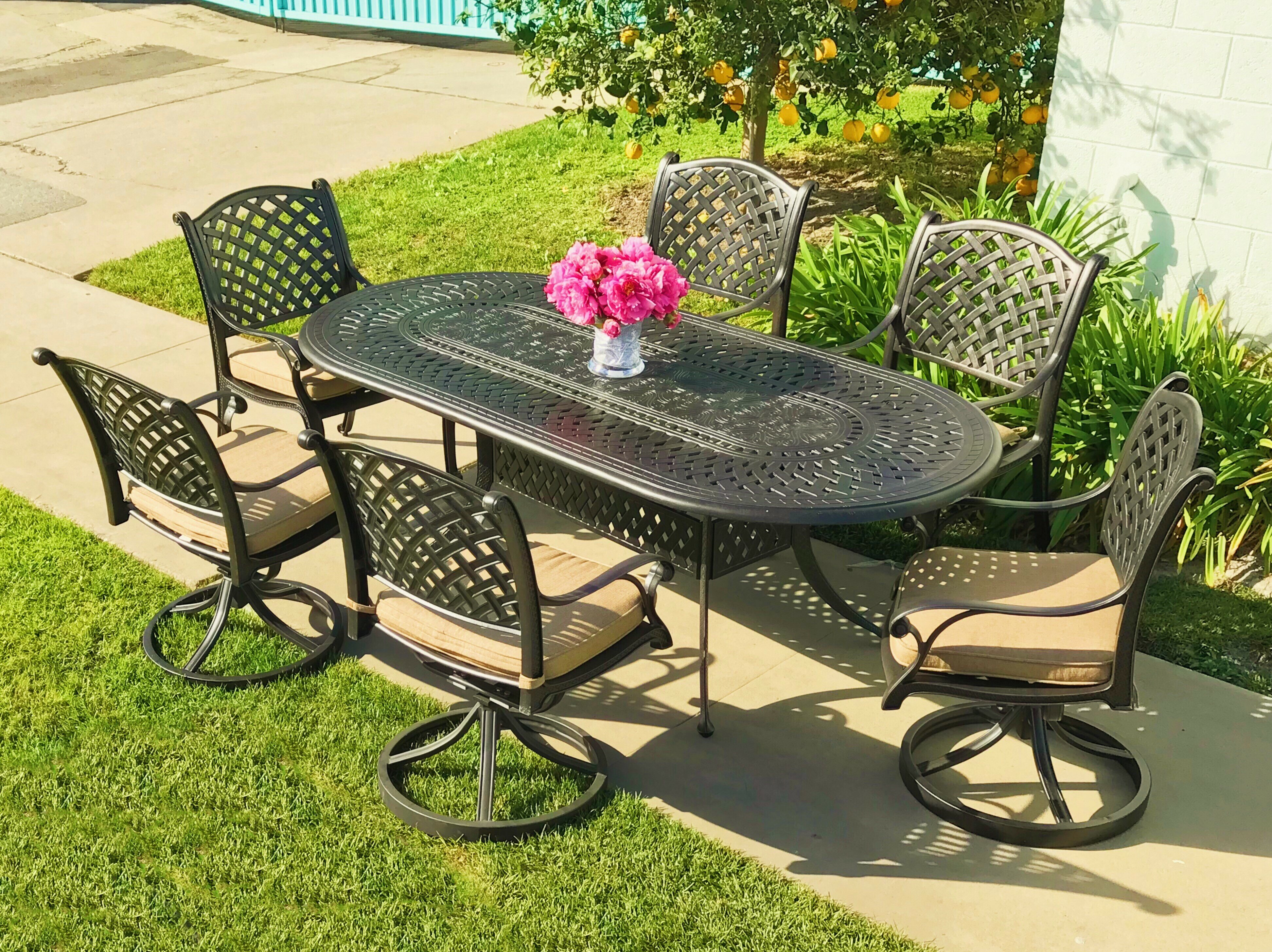outdoor dining finishes biscayne patio styles ip oval com walmart table multiple home