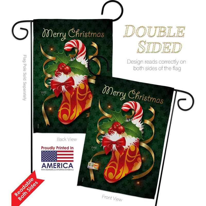 Breeze Decor Xmas Stocking Winter Christmas Impressions 2 Sided Polyester 18 5 X 13 In Flag Set Wayfair
