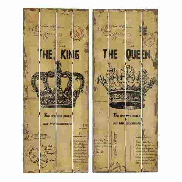 King And Queen Wall Decor abchomecollection 2 piece queen and king wood panel wall décor set