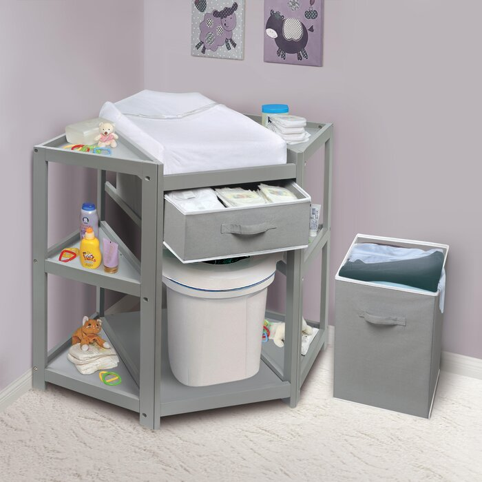 Exceptionnel Badger Basket Diaper Corner Baby Changing Table With Pad And 1 Basket With  Hamper U0026 Reviews | Wayfair