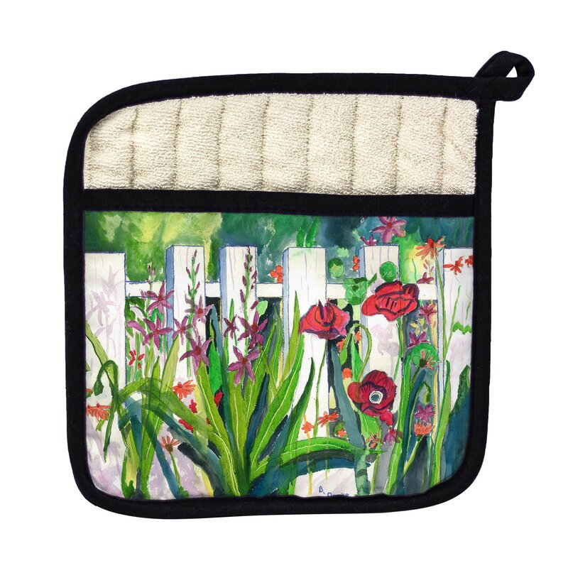 Betsy Drake Interiors Fence And Flowers Potholder Wayfair