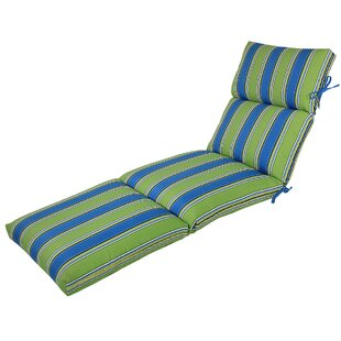Channeled Reversible Indoor/Outdoor Chaise Lounge Cushion (Set of 2)