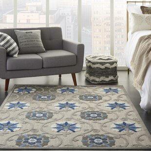 Weon Contemporary Flatweave Gray/Blue Indoor/Outdoor Area Rug