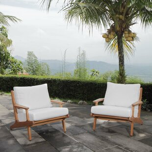 Berube Teak Patio Chair with Cushions (Set of 2)