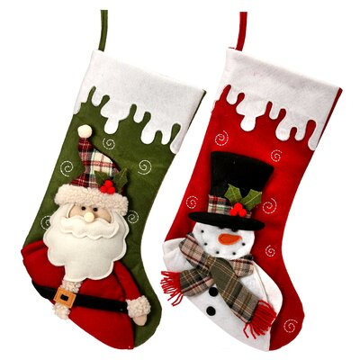 2 piece dripping snow santa and snowman stocking set - Minion Christmas Stocking