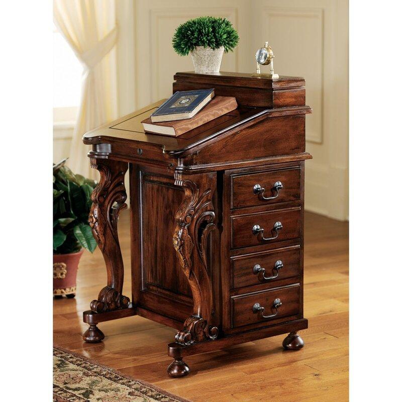 The Captain's Davenport Secretary/Roll Top Desk - Solid Oak Roll Top Desk Wayfair