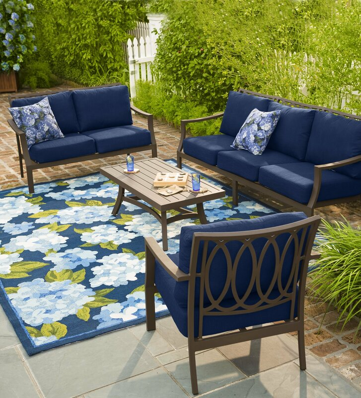 Top Plow & Hearth Hydrangeas Hand Hooked Blue Indoor/Outdoor Area Rug  BE39