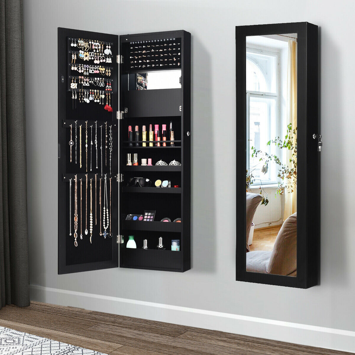 Deuntae Wall Mounted Jewelry Armoire with Mirror