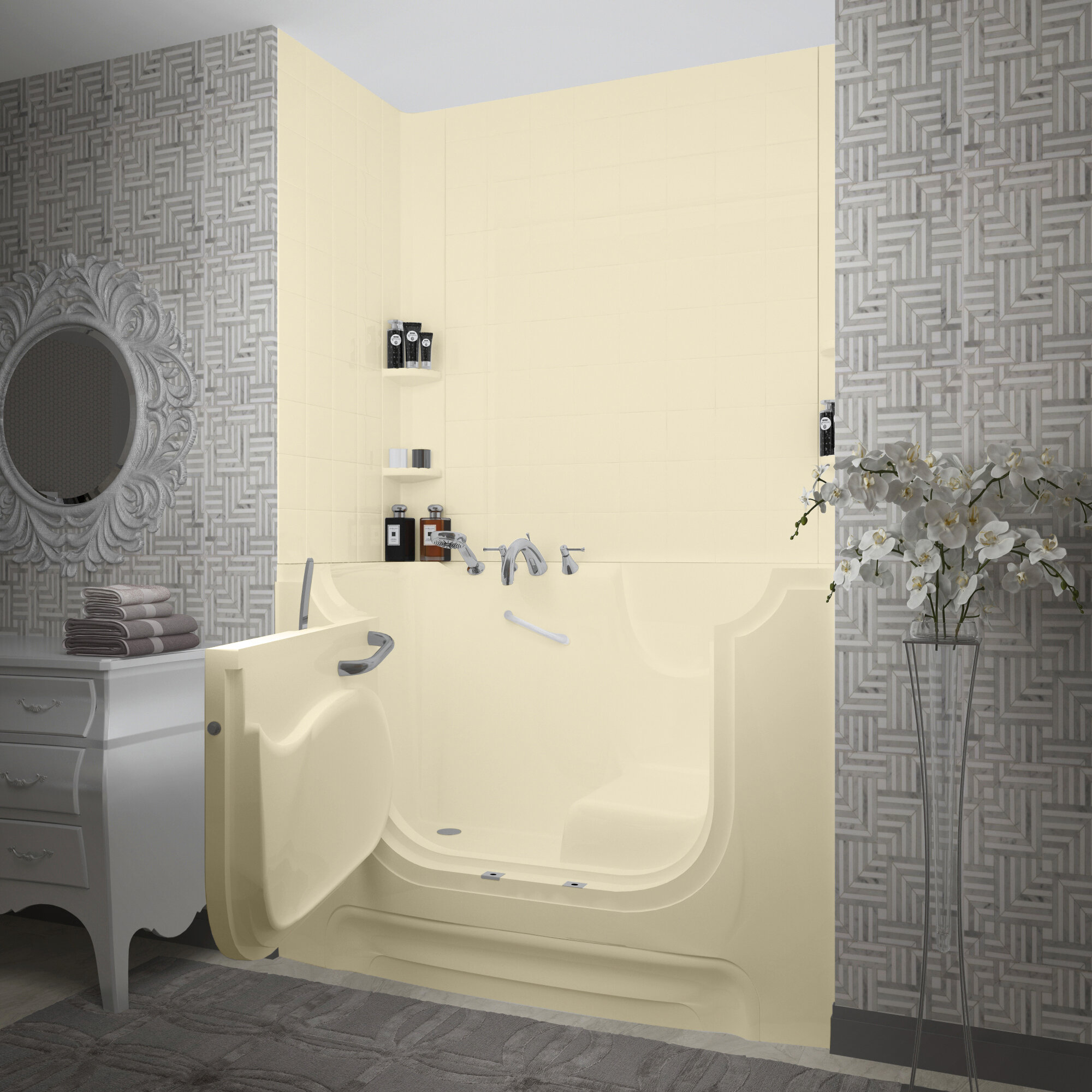 Therapeutic Tubs Handitub 60 X 30 Walk In Soaking Fiberglass Bathtub With Faucet Heater And Integrated Seat Wayfair