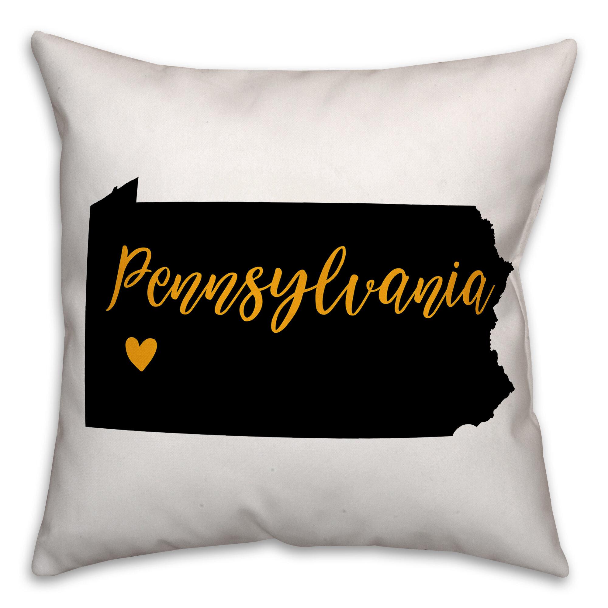 Ebern Designs Cornell Pennsylvania State Pride Pittsburgh Love Indoor Outdoor Throw Pillow Wayfair
