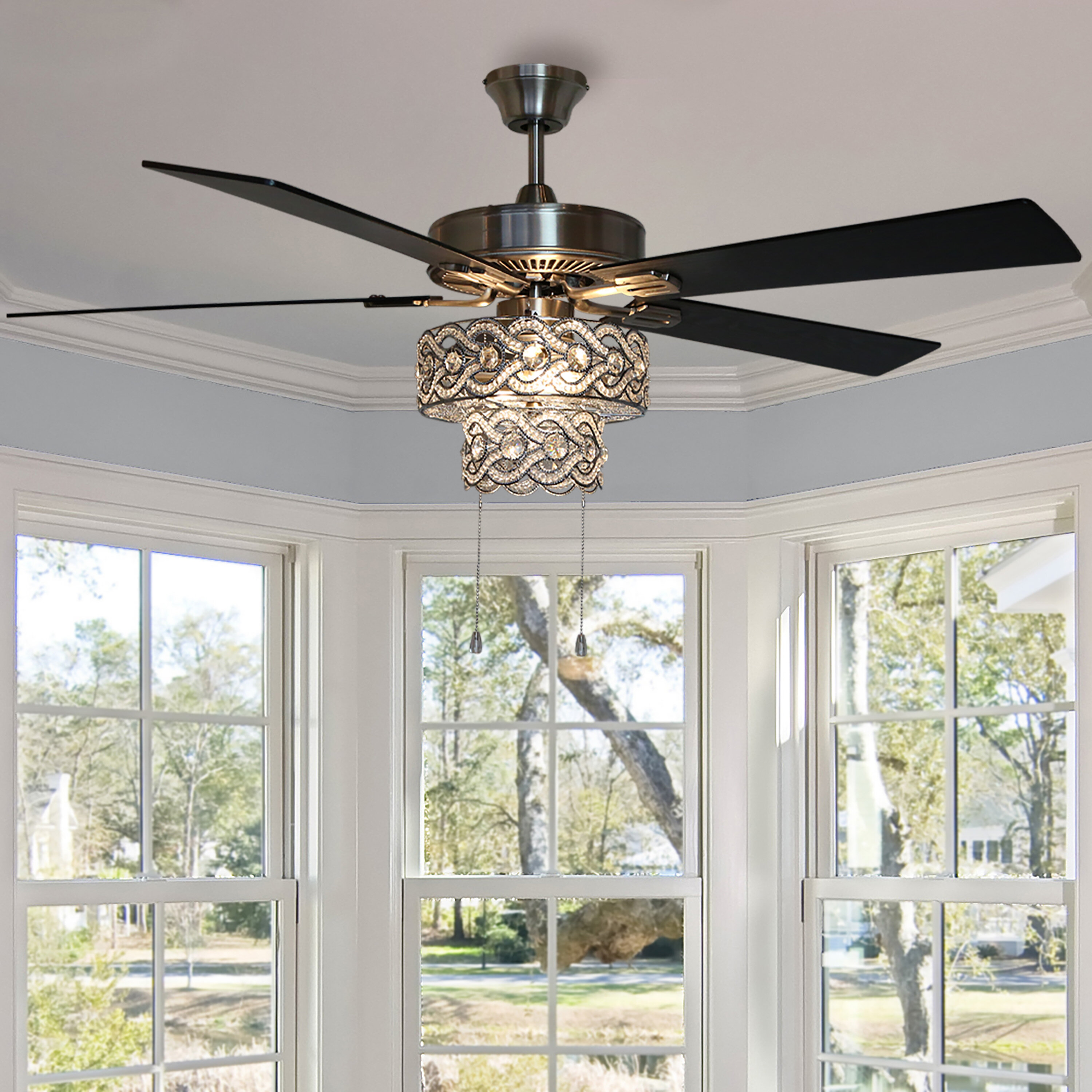 House Of Hampton 52 Nowthen 5 Blade Crystal Ceiling Fan With Pull Chain And Light Kit Included Reviews Wayfair