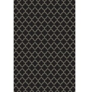 Fischer Quaterfoil Design Black/White Indoor/Outdoor Area Rug