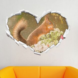 Gnawing Squirrel In Moss Wall Sticker By East Urban Home