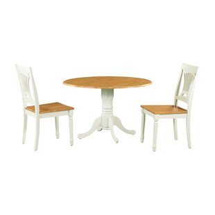 Shiver 3 Piece Drop Leaf Solid Wood Dining Set by August Grove