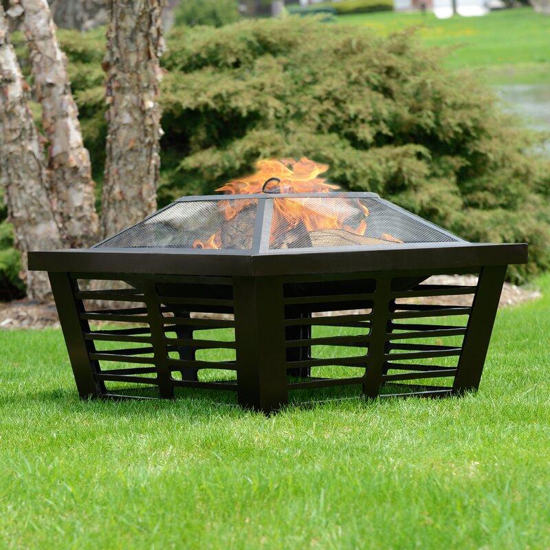 Pleasant Hearth Hudson Steel Wood Burning Fire Pit & Reviews   Wayfair
