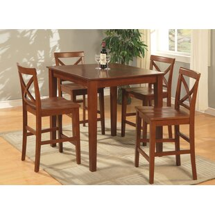 One Allium Way Mathys 5 Piece Counter Height Pub Table Set