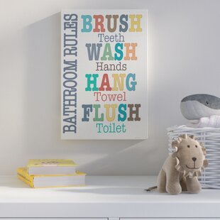 Wall Plaque Colorful Bathroom Rules Textual Art