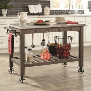 Gracie Oaks Nyampong Charmed Wooden Kitchen Island with Metal Casters