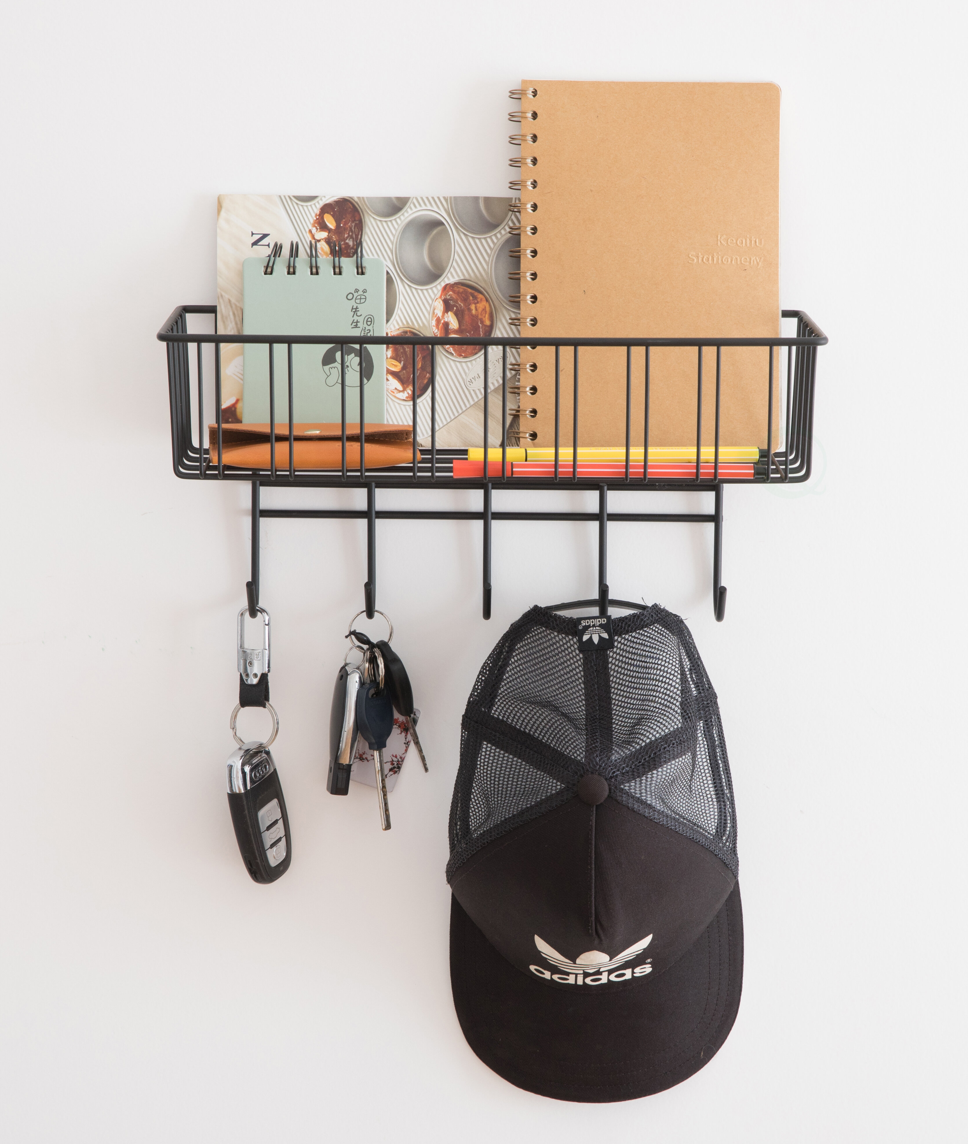 Rebrilliant Aster Wall Key Organizer With Key Hooks And Wall Baskets Reviews Wayfair