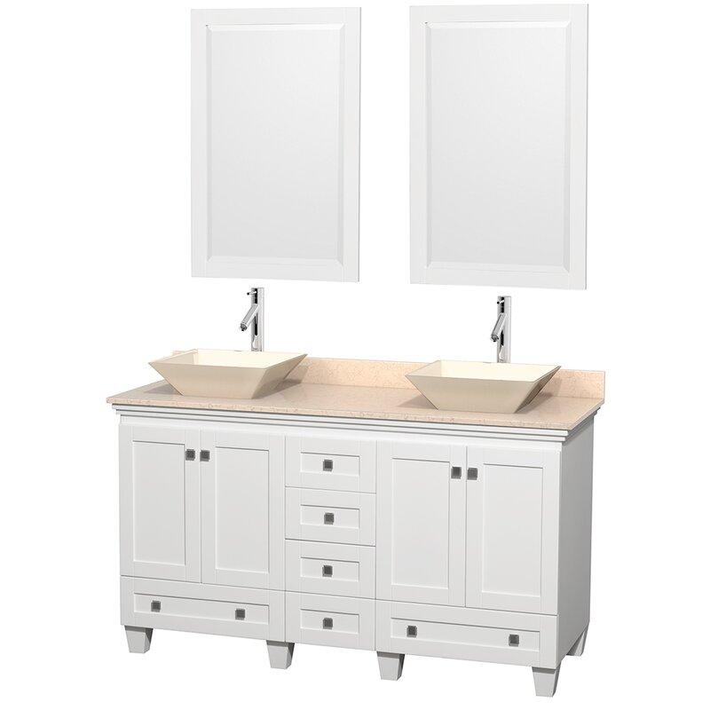 Acclaim 60 Double White Bathroom Vanity Set With Mirror