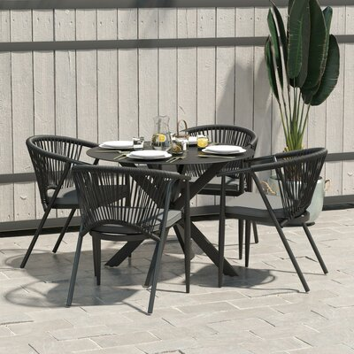 Circi 5 Piece Dining Set With Cushions by CosmoLiving by Cosmopolitan Modern
