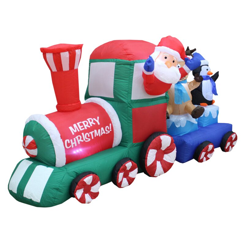 Santa on Train Christmas Inflatable