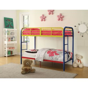 Compare prices Summey Contemporary Metal Twin Over Twin Bunk Bed by Harriet Bee Reviews (2019) & Buyer's Guide