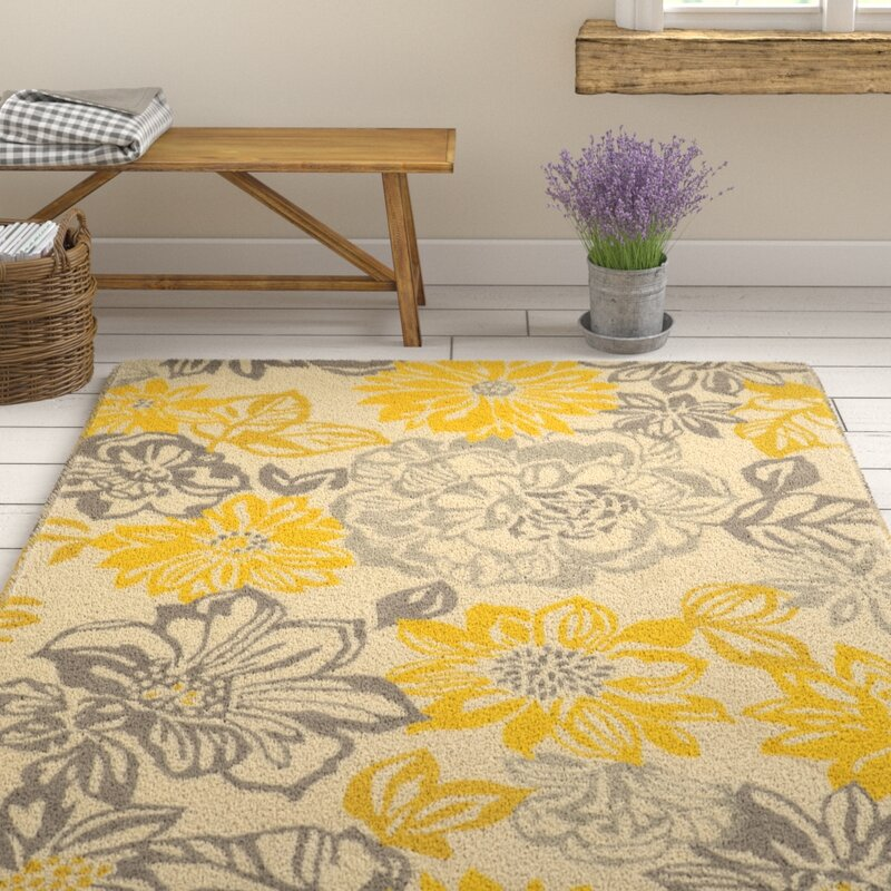 Amezcua Hand Woven Gray Yellow Area Rug
