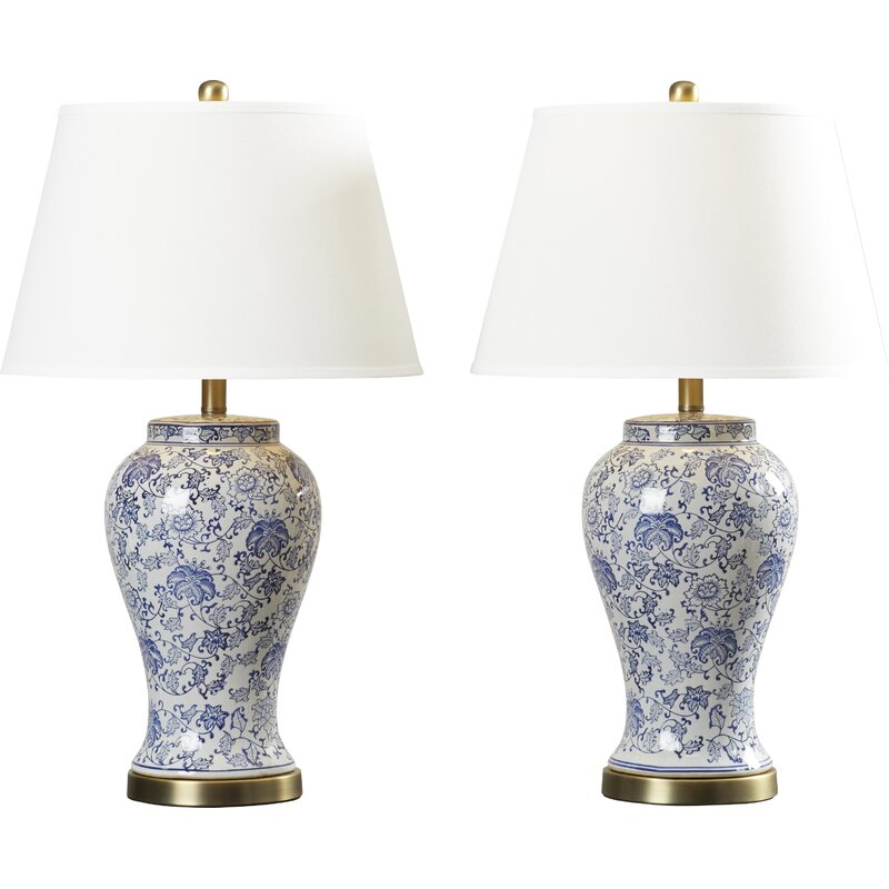"""Spring Blossom 29"""" Blue/White Table Lamp Set. See more lovely French inspired decor and furniture from Kelly Clarkson's collaboration with Wayfair in this story! #kellyclarksonhome #frenchcountry #lighting #tablelamps"""