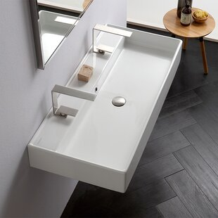 Look for Teorema Ceramic 40 Wall Mount Bathroom Sink with Overflow ByScarabeo by Nameeks
